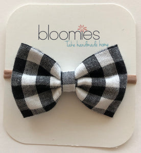Black Gingham Cotton Bow - Bloomies Handmade
