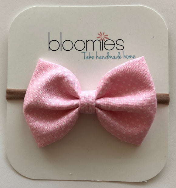 Little Pink Dot Cotton Bow - Bloomies Handmade