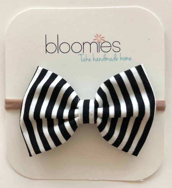 Black Stripe Cotton Bow - Bloomies Handmade