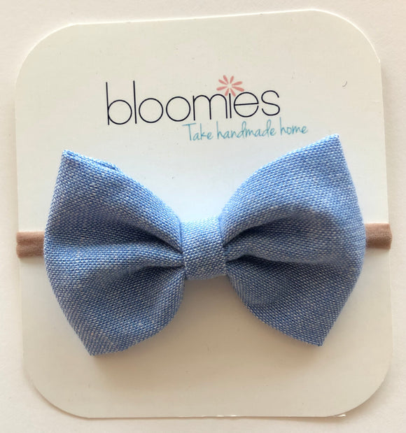 Denim Cotton Bow - Bloomies Handmade