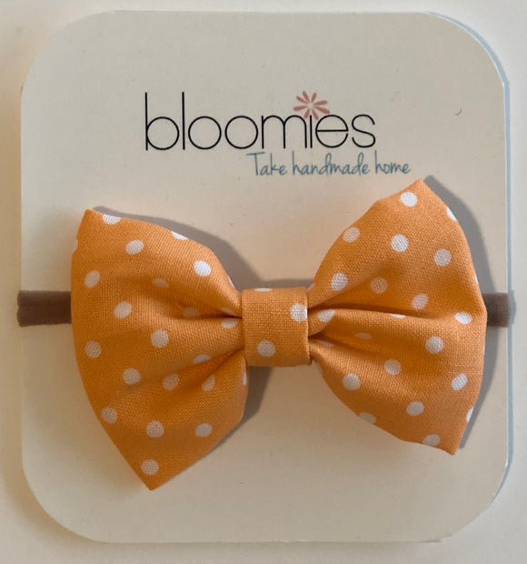 Orange Dot Cotton Bow - Bloomies Handmade