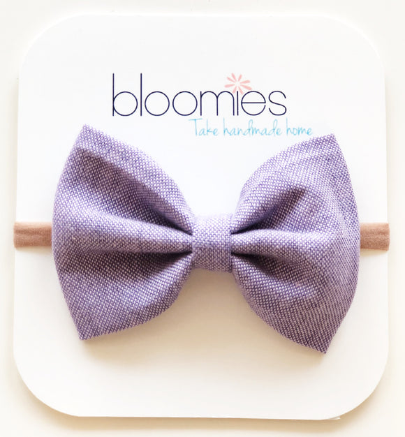 Lavender Chambray Cotton Bow - Bloomies Handmade
