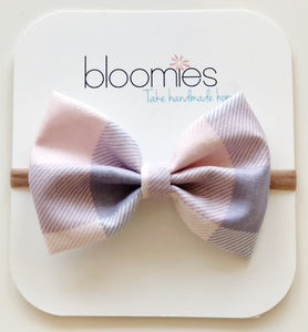 Lilac Check Cotton Bow - Bloomies Handmade