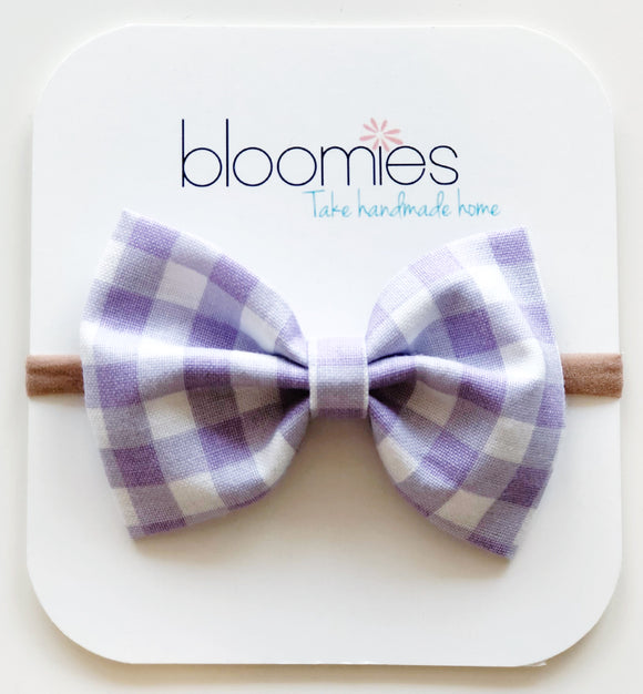 Lilac Gingham Cotton Bow - Bloomies Handmade