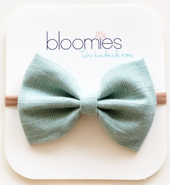 Mint Chambray Cotton Bow - Bloomies Handmade