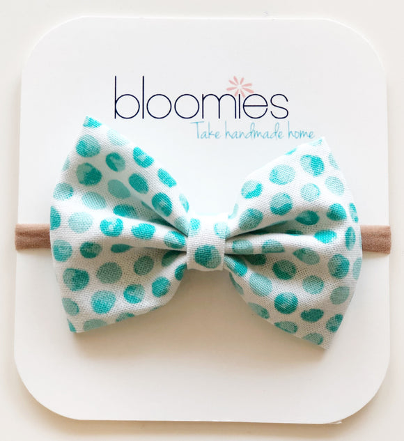 Mint Dot Cotton Bow - Bloomies Handmade