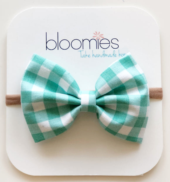 Mint Gingham Cotton Bow - Bloomies Handmade