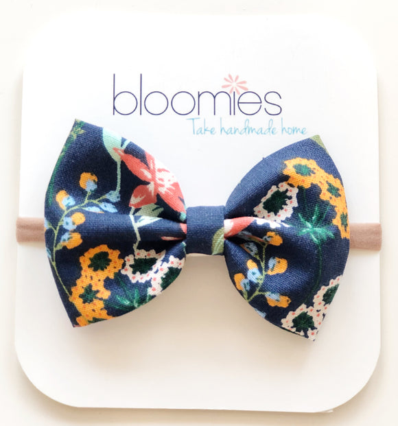 Mustard Floral Cotton Bow - Bloomies Handmade