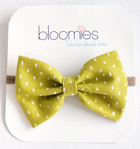 Mustard Stitch Fall Cotton Bow - Bloomies Handmade