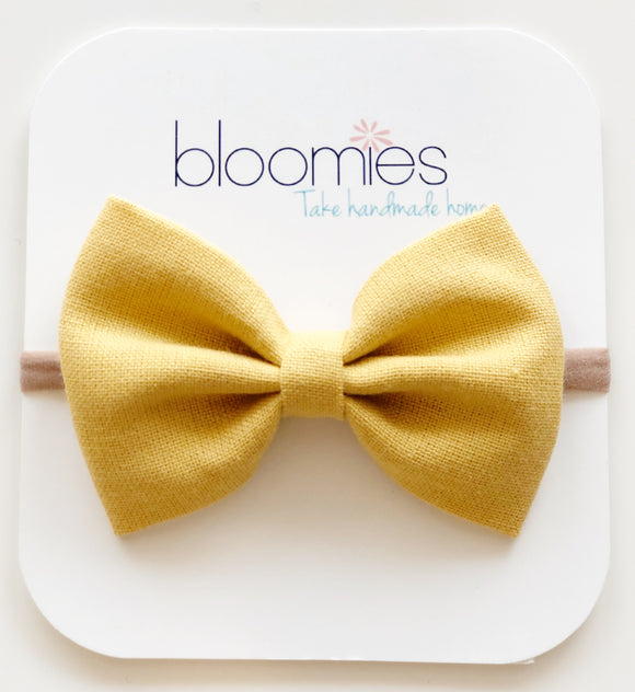 Mustard Cotton Bow - Bloomies Handmade