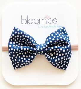 Navy Confetti Cotton Bow - Bloomies Handmade