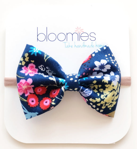 Navy floral Cotton Bow - Bloomies Handmade