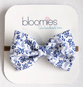 Navy Floral Fall Cotton Bow - Bloomies Handmade