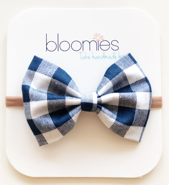 Navy Gingham Cotton Bow - Bloomies Handmade