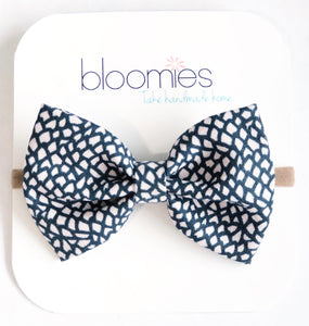 Navy Scales Fall Cotton Bow - Bloomies Handmade