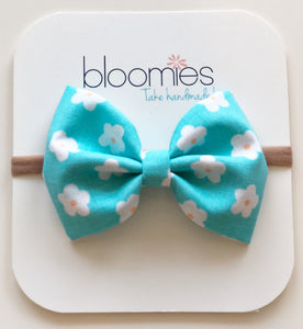 Ocean Daisy Cotton Bow - Bloomies Handmade