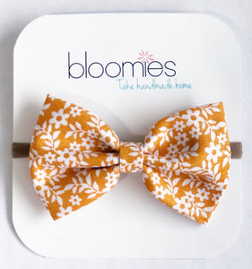 Orange Floral Fall Cotton Bow - Bloomies Handmade