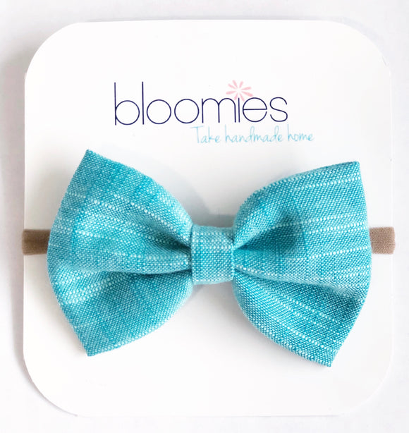 Peacock Chambray Fall Cotton Bow - Bloomies Handmade