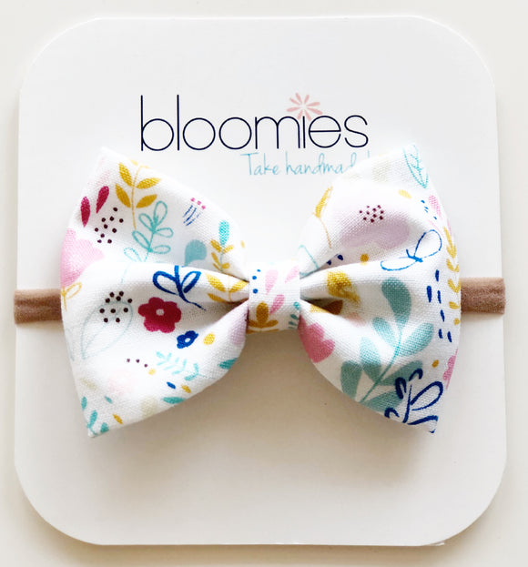 Petite Floral Cotton Bow - Bloomies Handmade