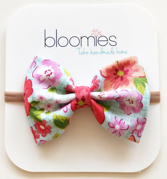 Pink Hawaiian Cotton Bow - Bloomies Handmade