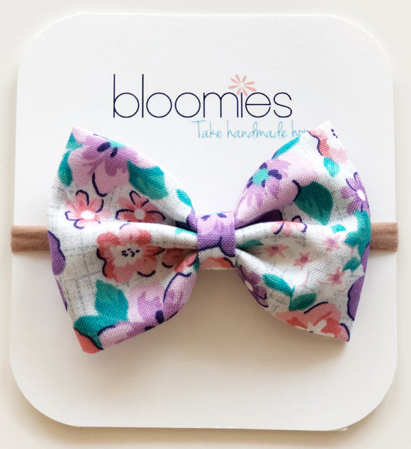 Purple Hawaiian Cotton Bow - Bloomies Handmade