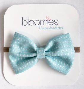 Sky Stitch Fall Cotton Bow - Bloomies Handmade