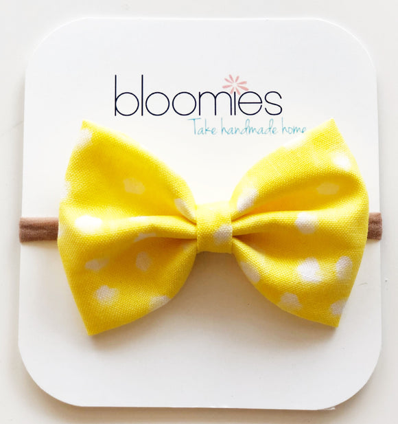Sunny Dot Cotton Bow - Bloomies Handmade