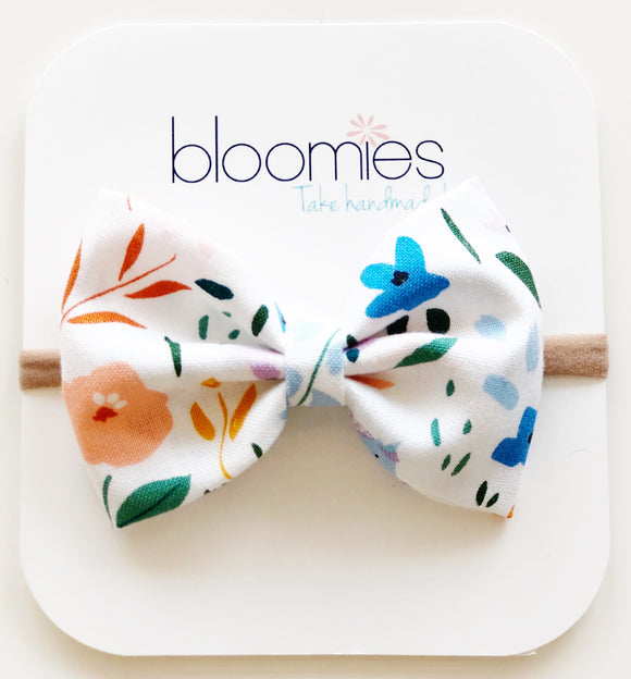 Swan Floral Cotton Bow - Bloomies Handmade