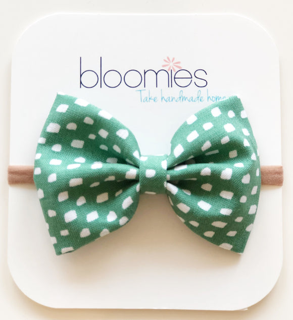 Teal Dash Cotton Bow - Bloomies Handmade