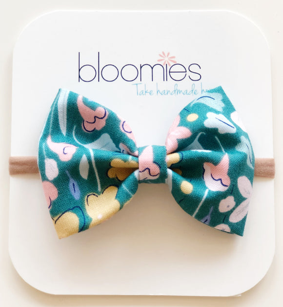 Teal Floral Cotton Bow - Bloomies Handmade