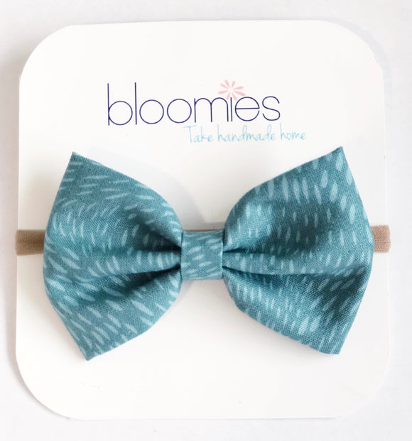 Teal Seeds Fall Cotton Bow - Bloomies Handmade