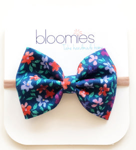 Tiny Red Floral Cotton Bow - Bloomies Handmade