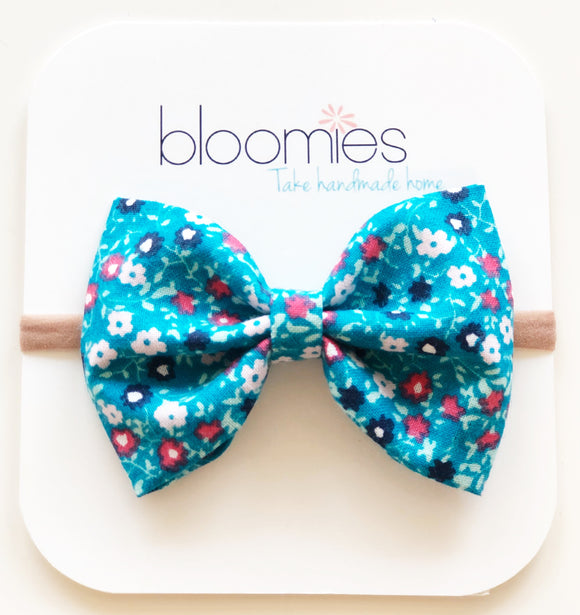 Tiny Teal Floral Cotton Bow - Bloomies Handmade