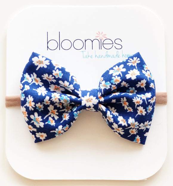Tiny White Floral Cotton Bow - Bloomies Handmade