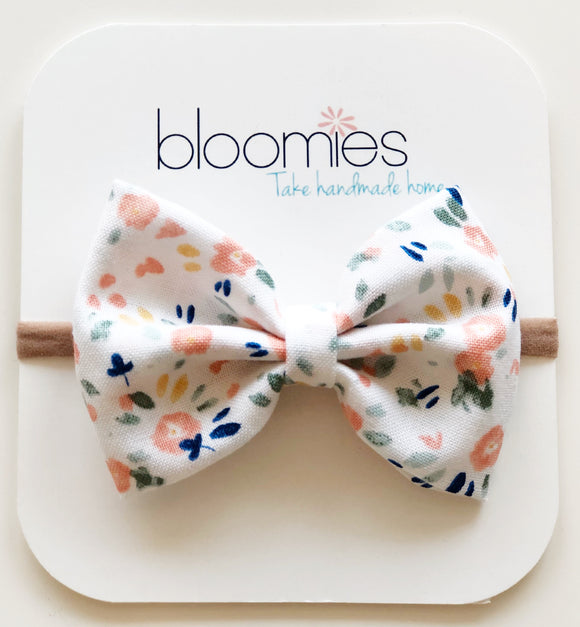 Watercolor Floral Cotton Bow - Bloomies Handmade