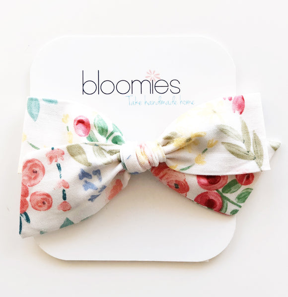 White Floral Knot Bow