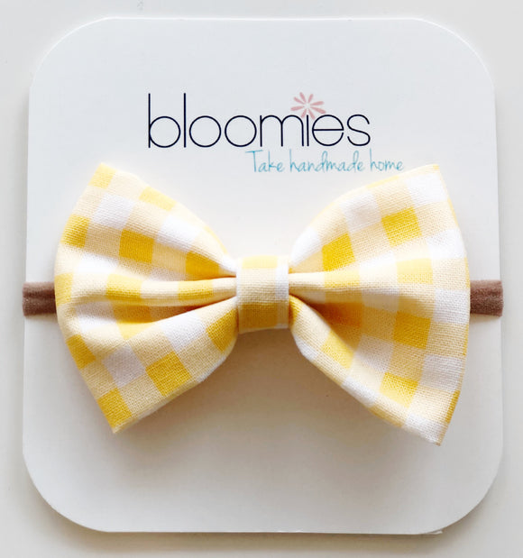 Yellow Gingham Cotton Bow - Bloomies Handmade