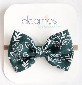 Teal Floral Fall Cotton Bow - Bloomies Handmade