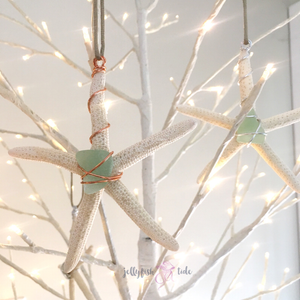Seaglass Starfish Window Hanging or Christmas Ornament
