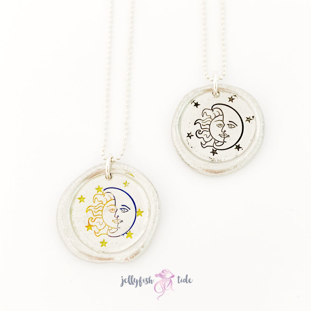 Sun and Moon Stamped Pewter Necklace