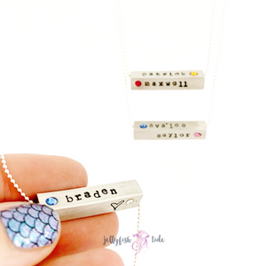 4 Sided Name & Birthstone Necklace