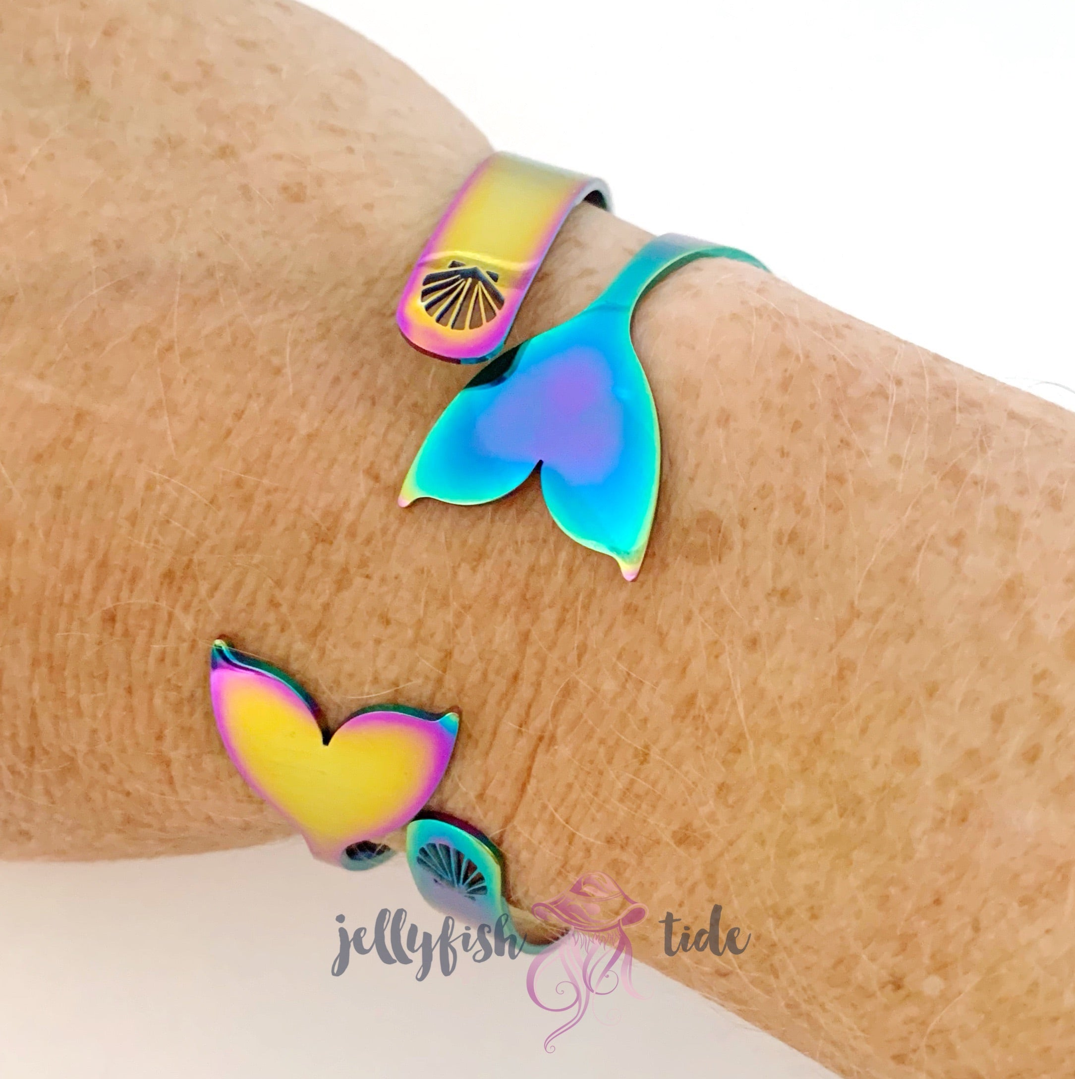 Rainbow Mermaid Tail Cuff Bracelet