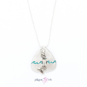 Mermaid and Waves Stamped Pewter & Sterling Necklace