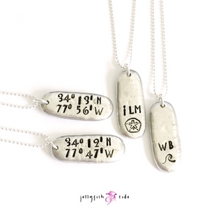 Latitude Longitude Coordinate Hand Stamped Necklace