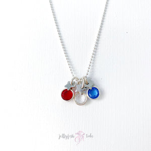 Patriotic Swarovski Crystal & Stars Necklace