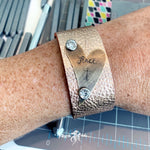 Heart on Leather Stamped Cuff Bracelet