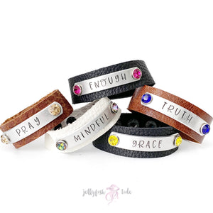 Leather Stamped Cuff Bracelet