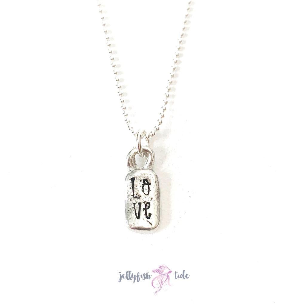 Mini pewter tag necklace Hope | Love | Pray