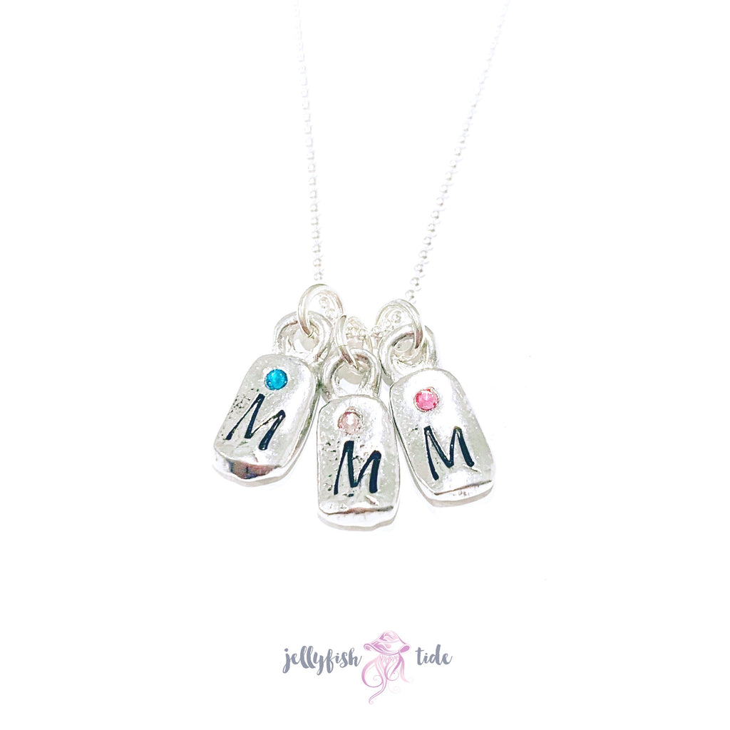 Mini pewter tag birthstone & initial necklace