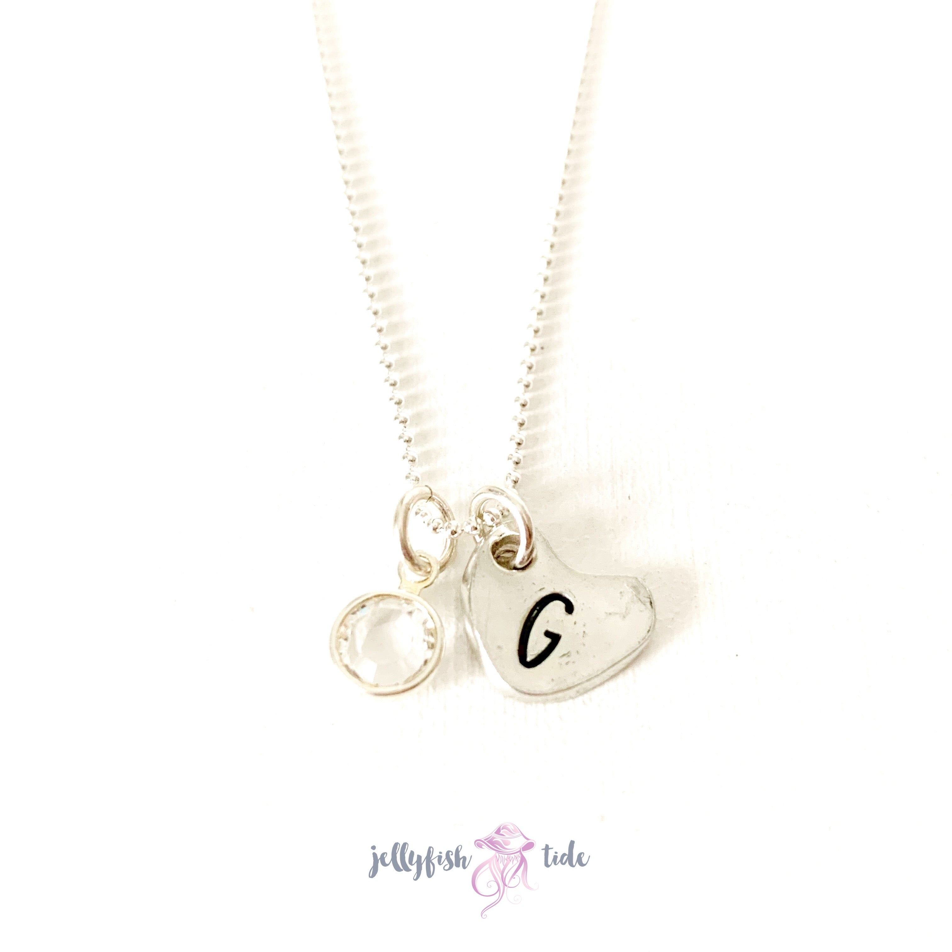 Mini heart with initial and birthstone